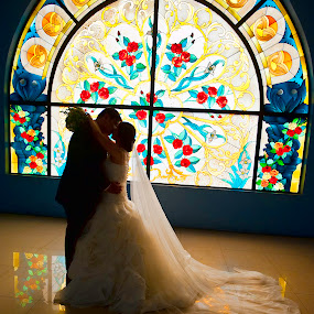My Wedding Day by Steve Albano - Wedding Bride & Groom ( love, kissing, wedding, bride and groom, stained glass,  )