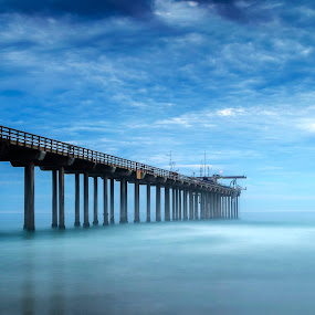 Pier to the Sky by Christian Wicklein - Landscapes Beaches ( sky, blue, green, pier, ocean, beach )