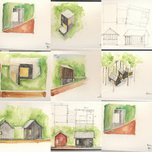 Photo: Jerry Sparkman is designing the house. Here's a page from his sketchbook. Note the evolution of two structures talking to one another.