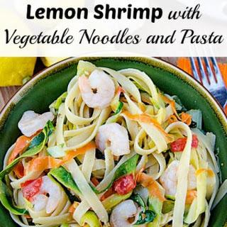 Lemon Shrimp with Vegetable Noodles and Pasta