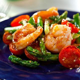 Sesame Shrimp and Asparagus Stir-Fry.