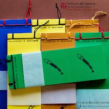"""Photo: Últims exemplars de """"Selecció del quinze"""", microcontes i aforismes de Ferran Cerdans Serra en el format retallable de Llibres Artesans, en disseny propi i enquadernats a mà per l'autor"""