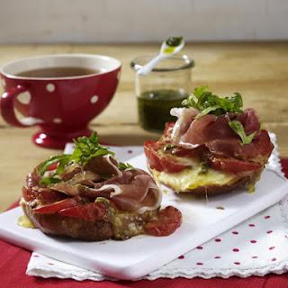 Open-faced Tomato, Parma Ham and Mozzarella Sandwiches.