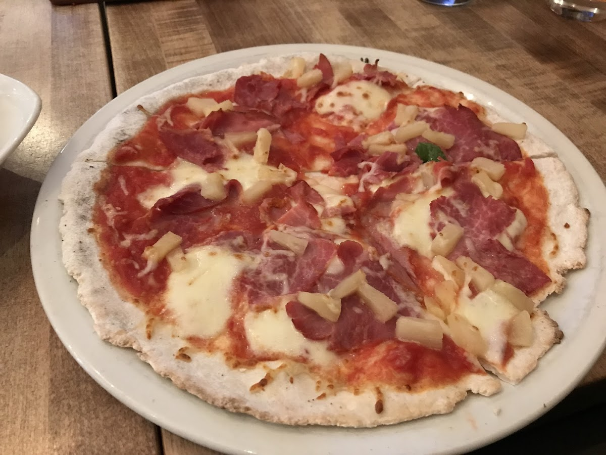 GF ham and pineapple pizza