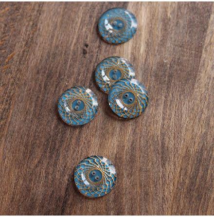 Mönstrad, 17mm - blå/guld