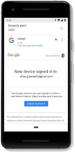 Gmail security alert for a new device sign-in