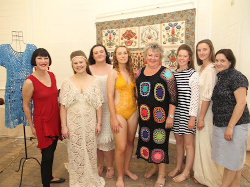 Australian Cotton Fibre Expo special guest Claudia Chan Shaw with local models Tarisha Scaysbrook, Chloe Murphy, Faith Pagett, Sunshine Coast based  designer Jenny King, Charlotte Burke, Sarah Stanfield and Expo committee president Mel Moloney.