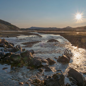 Landmannalaugar by F Kelly - Landscapes Mountains & Hills ( thermal pools, iceland, landmannalaugar, camping, campsite, sunrise )