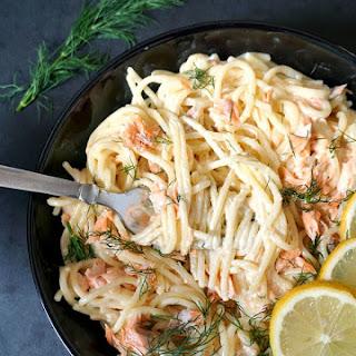 Alfredo Pasta with Salmon.