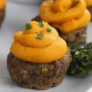 BBQ Meatloaf Muffins with Sweet Potato Topping