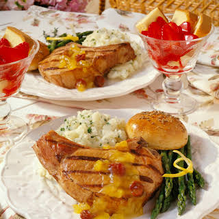 Gingered Chops with Cherry-Orange Sauce.