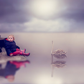 Reflections by Una Williams Photos - Babies & Children Child Portraits ( child, water, sky, swan, rocks )