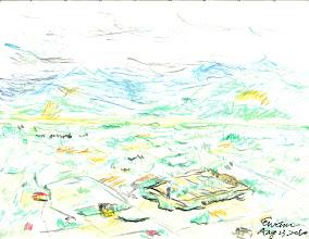 Photo: 遠望20100823粉彩筆 儘管天候不佳,還是騎上了山,坐在路旁的石墩子上作畫… 監獄座落在風光明媚的田野裡,綠色的農田,一直綿延到山的另一邊… 還沒畫成,就下起了雨,還掉了三支筆下懸崖,手也被芒草割傷,但心裡真的好快樂… 只可惜,掃描後畫的整個細節都出不來。