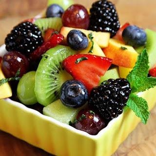 Fresh Fruit Salad with Lime-Honey Dressing.