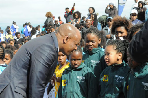 Eastern Cape Phumulo Masualle speaks to someof the girls at the event Picture: RANDALL ROSKRUGE