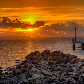 by Dom Del - Landscapes Sunsets & Sunrises ( water, sunrise, jetty, rocks,  )