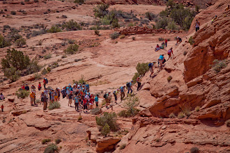 Photo: A view from far away (about 1/4 mile) of people hiking up the steel cable section.