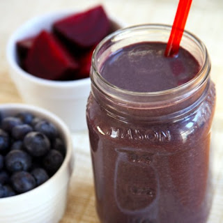 Beet Blueberry Chocolate Protein Smoothie.