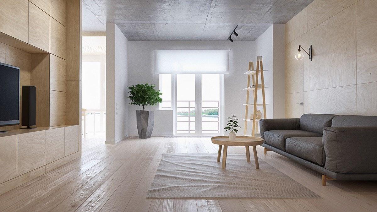 Nội thất trong nhà được bố trí gọn gàng, tối giản