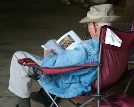 Photo: Dick Grimm enjoying a Mushroom Book. Photography by Andrea Moore.