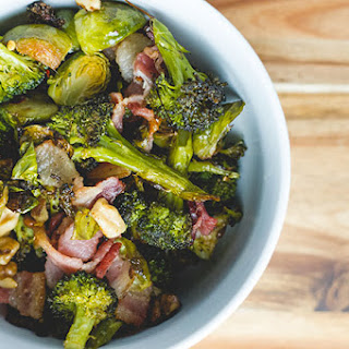 Roasted Brussel Sprouts and Broccoli with Bacon and Walnuts