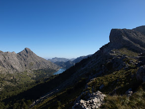 Photo: Puig de ses Vinyes (hike 50) to the left of Gorg Blau reservoir