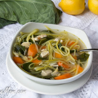Lightened Up Chicken Kale Zoodle Soup {Low Carb & Gluten Free}.
