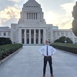 excellent selfie at the national diet of Japan in Tokyo, Tokyo, Japan