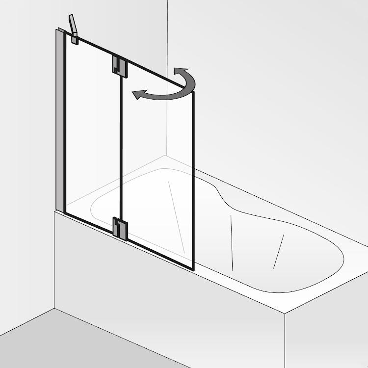 Duschkabinen_k2p 1festes nebenteil + 1 bewegliches element