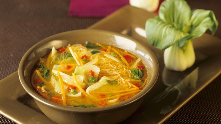 Vietnamese Vegetable Tofu Noodle Soup with Bok Choy