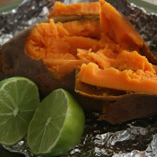 CrockPot Baked Sweet Potatoes with Chili, Cumin and Lime.