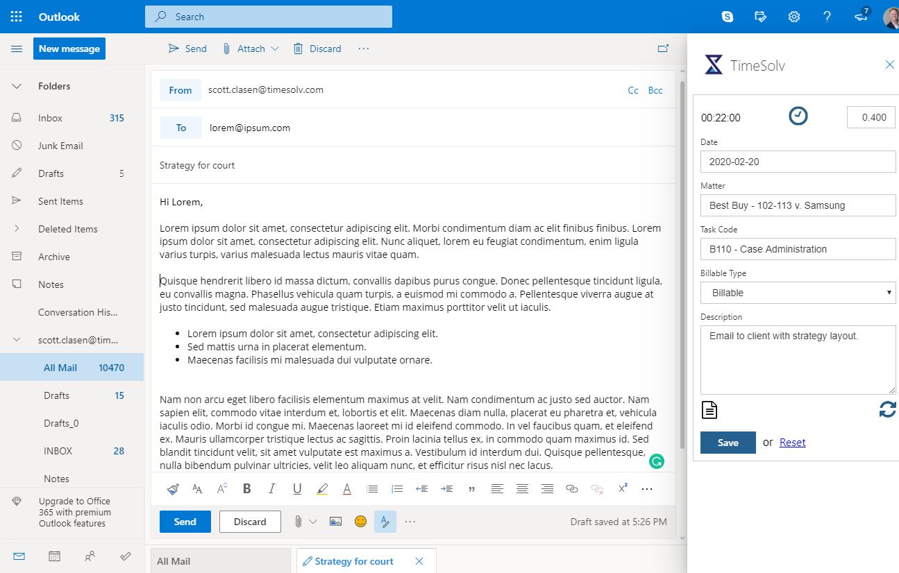 TimeSolv email screenshot