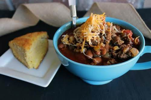 """Recipe Here: Lulu's Chili """"This chili is hearty, dense and delicious! I..."""
