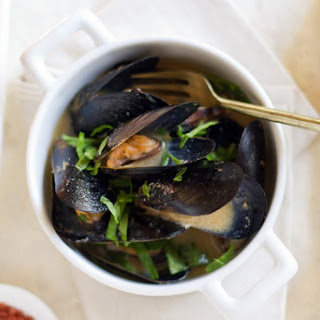 Sake Miso Mussels with Wilted Greens