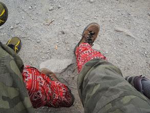 Photo: 雪が残ってると思い変な柄のスパッツを着けた。