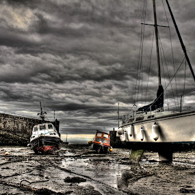 Lynmouth Harbour by Luke Aylen - Transportation Boats ( stormy, hdr, harbour, boats, devon, hdr., sea, overcast, storm, yachts )