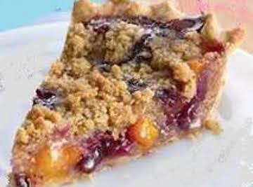 Peach Blueberry Streusel  Pie