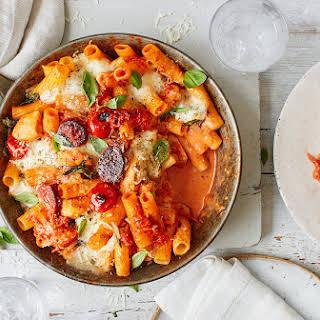 Creamy Chicken, Tomato and Chorizo Pasta Bake.