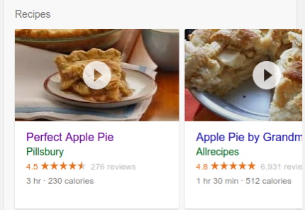Recipe results for an apple pie on a google search