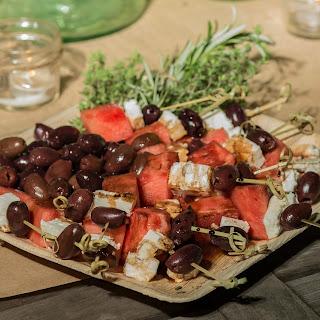 Watermelon, Feta & Kalamata Olive Skewers