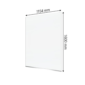 """Hygiene- und Hustenschutz """"Style Protect"""", 6 mm Sicherheitsglas (ESG), transparent, mit Aluminium-Profil, 1600 x 1154 mm"""