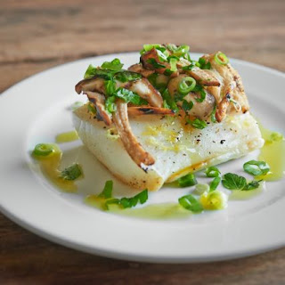 Steam-Grilled Black Cod, Mushrooms, Italian Parsley and Spring Onion.