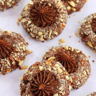 Chocolate Hazelnut Thumbprint Cookies.