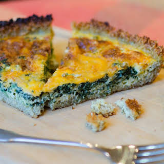 Spinach and Cheddar Quiche with a Quinoa Crust.
