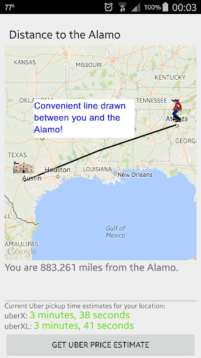 Distance to the Alamo