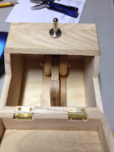 Photo: Step 6b. Alternate view of finger pivot point. The wood blocking on the sides adds stability to the finger ensuring it strikes the SPDT toggle switch on its centerline.