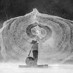 Throw The Net by Glenn Valentino - Black & White Portraits & People ( blackandwhite, black and white, black white, bw, people )