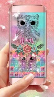 Colorful Owl Keyboard Theme - náhled