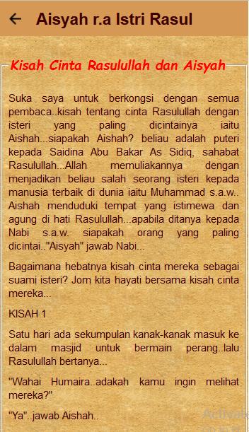 Kisah Aisyah Istri Rasul - Apl Android di Google Play