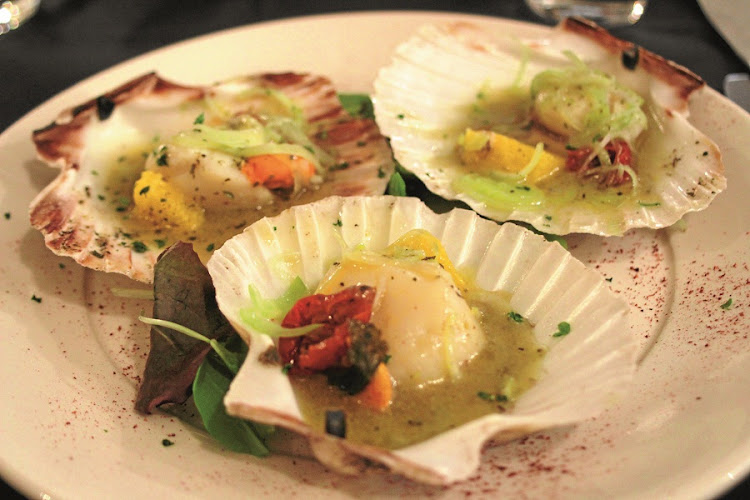Alle Testiere. Scallops with leek, orange and sundried tomato. Picture: MADELEINE MORROW